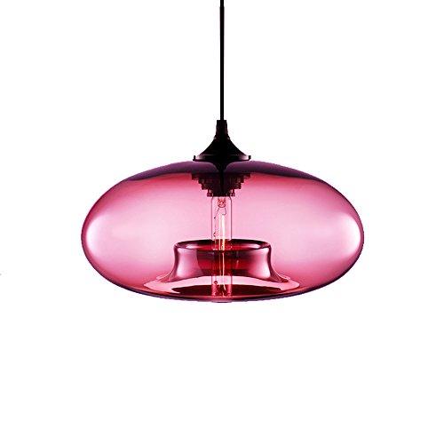 Wings of Wind - Industrie-Weinlese -Leuchter E27 Pendelleuchte Deckenleuchte Bunte Glaskäfig (Pink)