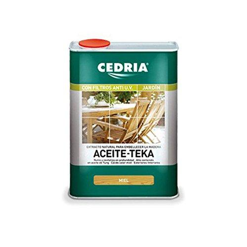 Aceite teka miel incoloro Cedria - 750 ml - Revitalizador para madera con alto contenido en Aceite de Tung que nutre, protege y embellece la madera.