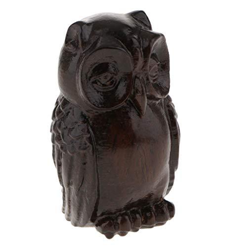LOVIVER Wooden Buddha Statue Handmade Meditating Sculpture Figurine Decorative Rustic Handcrafted Art Traditional Contemporary Oriental Decor - Owl