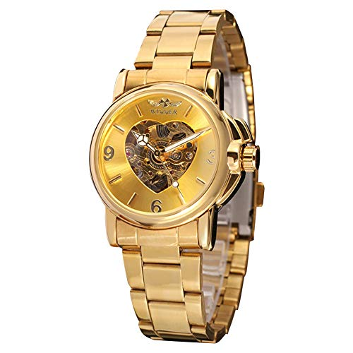 GJHBFUK Reloj de Hombre Forma De Corazón Hueco Automático Movimiento Mecánico Hombres De Negocios Reloj Oro