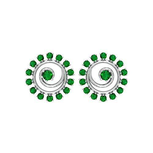 Rosec Jewels – Pendientes en espiral con esmeralda de 0,36 quilates, pendientes de piedra natal de mayo, pendientes de piedras preciosas, joyería de boda (calidad AAA), rosca trasera verde
