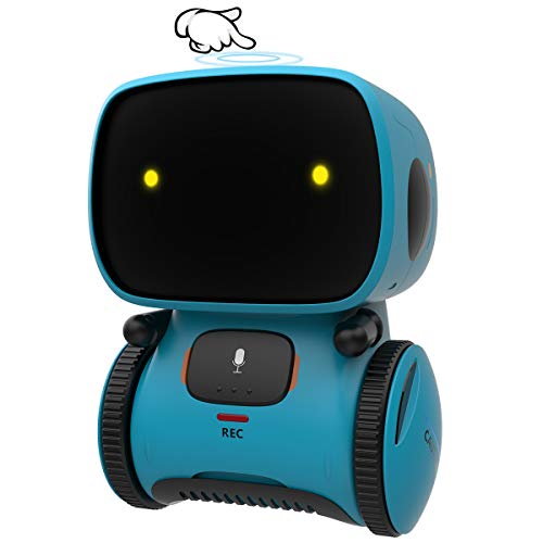 GILOBABY Robot Toys, STEM Toys Talking Interactive Voice Controlled Touch Sensor Smart Robotics with Singing, Dancing, Repeating, Speech Recognition and Voice Recording, Toy for Kids Age 3+ (Blue)
