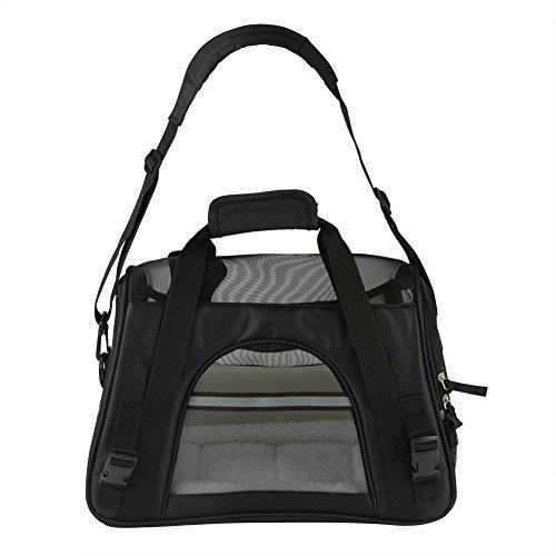 Transporttas met schouderriem voor huisdieren, opvouwbare transporttas met kussen, ademende tas voor honden, katten, puppy's, konijnen, reistas, voor trein, vliegtuig, keuze uit twee maten, L, zwart.