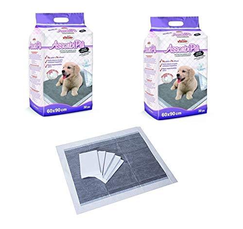 90 Tappetini Assorbenti 60x90 cm per Cani Carboni Attivi Traverse Tappeti con Adesivi per Fissarli al Pavimento