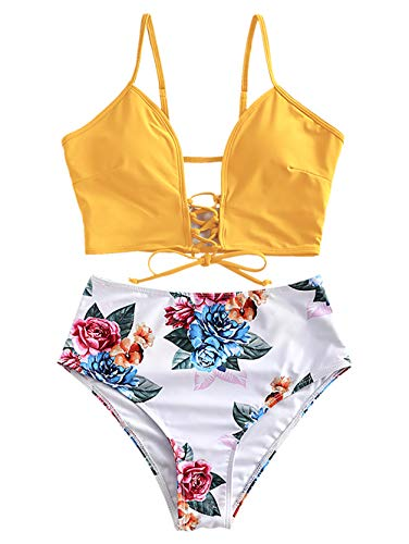 ZAFUL Damen Floral High Waisted Sommer Lace Up Bikini Set Swimsuit Gelb S