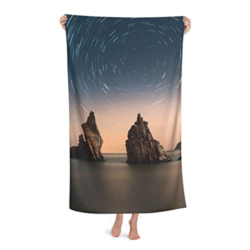 Star Trails Ocean Rocks Toalla de playa de microfibra para piscina, 80 x 130 cm, secado rápido, arena, para viajes al aire libre, manta de micro fibra personalizada