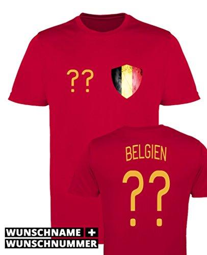 Comedy Shirts - Belgien Trikot - Wappen: Klein - Wunsch - Herren Trikot - Rot/Gelb Gr. L