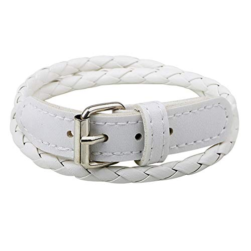 Vintage braided rope Bangle White double twist Adjustable buckle punk woven Bracelets For Men Women kid friend Handmade Jewelry Gift