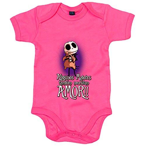 Body bebé parodia de Pesadilla antes de Navidad algunos malotes también necesitan amor - Rosa, 6-12 meses