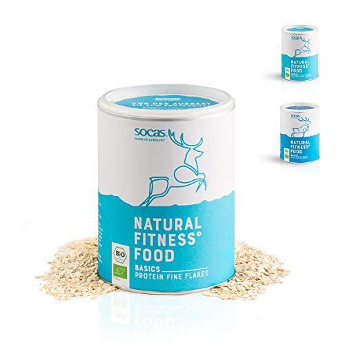 SOCAS Bio Sojaflocken – 300g Basic Protein Flakes / 100% Bio Soja Made in Germany / glutenfreie & entölte Soja Flocken – grob & fein (Feine Soja Flakes)