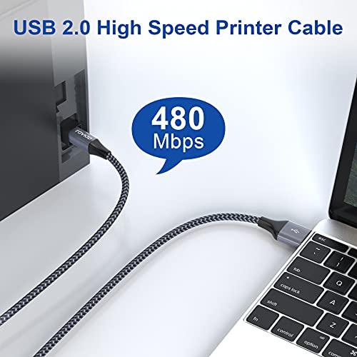 RAVIAD Cable Impresora [2M] Impresora Cable USB 2.0 Tipo A a Tipo B con Conectores Dorados para HP, Epson, Canon, Brother, Lexmark, Escáner, Disco Duro, Fotografía Digital y Otros Dispositivos