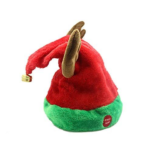 JIAL Musikglocke Weihnachten Weihnachtsmütze singen und tanzen Mobile elektrische Hut Plüsch Erwachsenen Hut, um im Winter warm zu halten Chongxiang