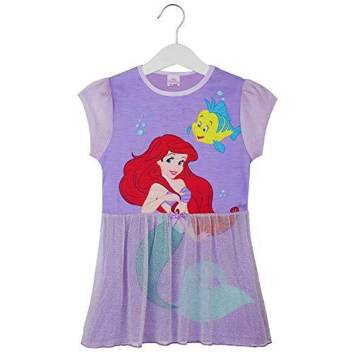 Disney Pijama Niña, Camison de Las Princesas Ariel Cenicienta Bella Jasmine o Rapunzel, Vestidos Niña para Dormir, Regalos para Niñas 2-12 Años (Morado Oscuro, 3-4 años)