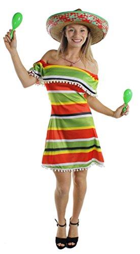 Ik hou van mooie jurk ILFD4033XS dames Mexicaanse Fiesta jurk (X-Small)