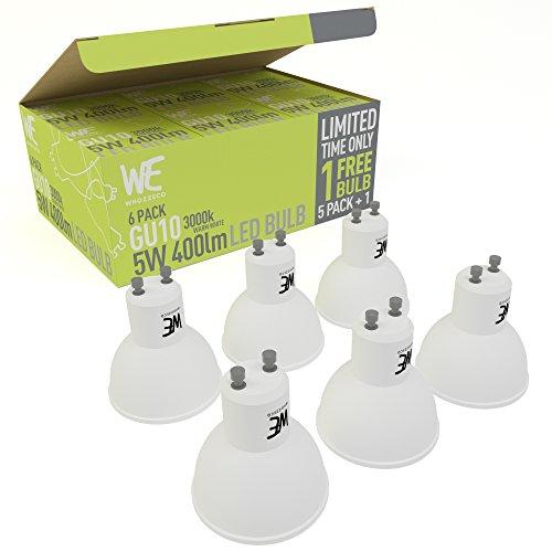 Bombillas LED GU10 5w 6-Pack ENVÍO GRATUITO Blanco cálido GARANTÍA DE DEVOLUCIÓN 3000k 400 Lumen Equivalente a 50w Focos Halógenos, Reemplazo Inmediato