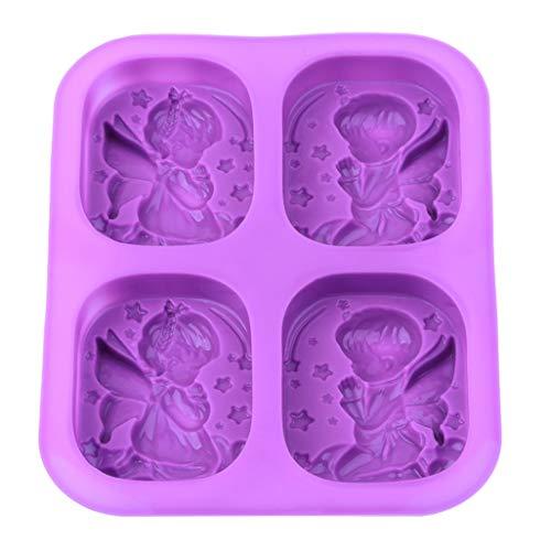 WEILYDF 4 Gürtel Engel Silikon Form Seifen Gießformen Seife Seifenformen Rechteck Silikon Kerzengießformen Einfache Schöne Für Süßigkeiten Schokolade Kuchen Silikonform