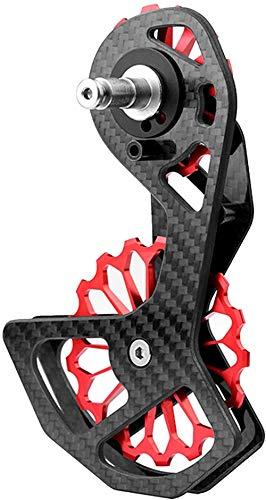 LUNE Bicicleta Trasero Desviador, Fibra de Carbono Cerámica Trasero Desviador TW-105 Guía de Bicicletas, Accesorios de aleación de Aluminio de la Rueda Viajes Equipo de Bicicleta de montaña-Rojo