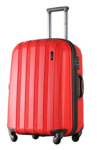 Luggage X Hard Sided Polypropylene Lightweight Trolley Suitcase (22', Red)