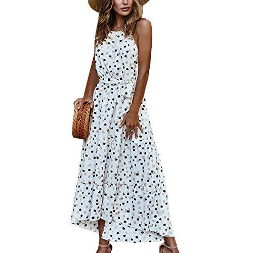 HANMAX Vintage-Outfits Damen Boho Strandkleid Ärmellos Sommerkleid Festlich Partykleid Abendkleid Cocktailkleid (M, Weiss)