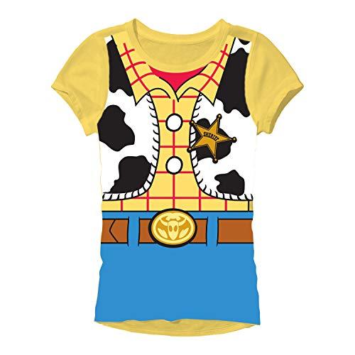 Disney Pixar Toy Story Woody Costume Juniors T-Shirt(Yellow,Large)