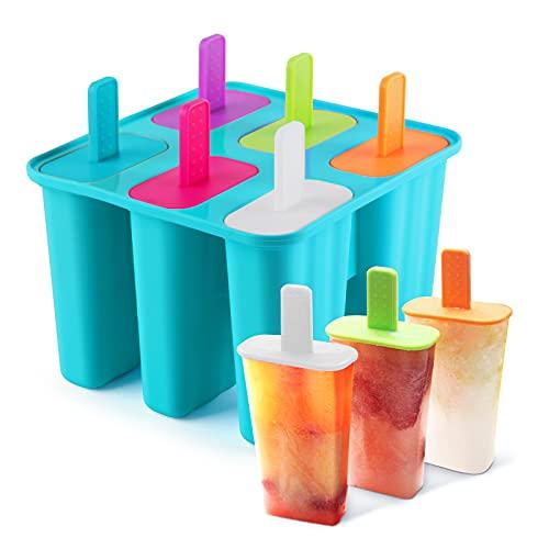 Moldes Helados Silicona,DEHUB Reutilizable 6 Agujeros Grado Alimenticio sin BPA Molde para Helados de Silicona Solía Hacer Paletas Heladas(1,Azul)