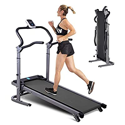 Manual Walking Treadmill,Multifunctional Foldable Running Machine, Shock Absorption, Move in Both Directions, Treadmills with LED Display Screen, Non-Electric Treadmill, Adjustable Speed