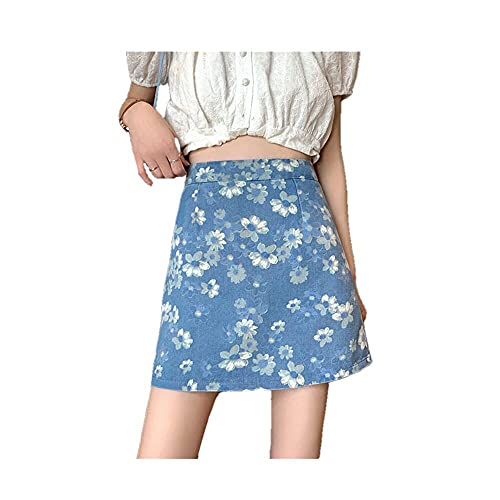 N\P falda de verano de cintura alta delgada una línea de mezclilla falda de mujer