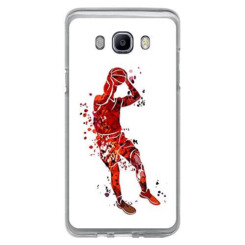 BJJ Funda Transparente para [ Samsung Galaxy J7 2016 ], Carcasa de Silicona Flexible TPU, diseño: Jugador de Baloncesto Watercolor