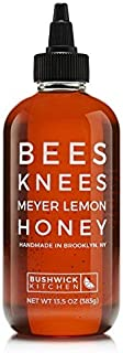 Bushwick Kitchen Bees Knees Meyer Lemon Honey, Gourmet Orange Blossom Honey Infused with Lemon Rind, 13.5 Ounce Bottle