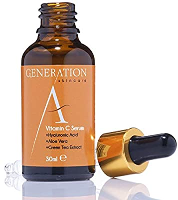 Generation Skincare Vitamin C Serum Face Cream with Hyaluronic Acid - Best Anti Wrinkle & Anti Aging Skin Primer For Women - Helps Remove Scars & Acne - Made in the UK With An All Natural Formula by Generation Skincare