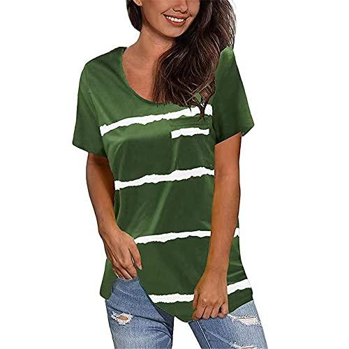 Manga Corta Mujer Tops Elegant Cómodo Verano Cuello Redondo Mujer Blusa Moda Chic Rayas Impresión Dobladillo Dividido Irregular Diseño Ocio Diario All-Match Mujer T-Shirts H-Green XXL