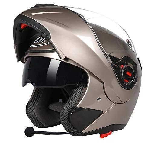 TKTTBD Casco De Motocicleta Cascos Abatibles Bluetooth Casco Modular Cascos Integrales Casco De Scooter Aprobado por Dot Casco De Ciclomotor De Motocicleta Casco para Respuesta Automática D,XL