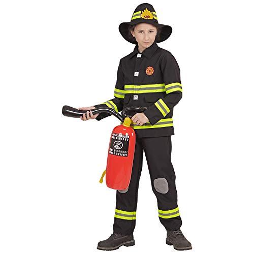 WIDMANN-FEUERWEHRMANN (Oberteil, Hose, Helm) 96799 – Disfraz infantil de bombero, parte superior, pantalones y casco, profesional, carnaval, fiesta temática, color negro/amarillo neón, 104