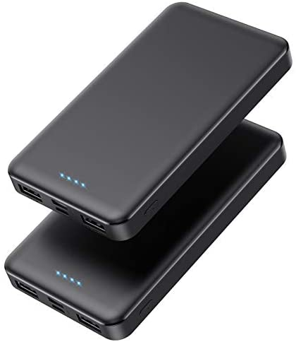 Portable Charger Power Bank 10000mAh【2 Pack】 Ultra Slim Design Portable Phone Charger with Type C 3 Input & 2 Output Backup Charging External Battery Pack for Smart Phone, Android Phone,Tablet etc.