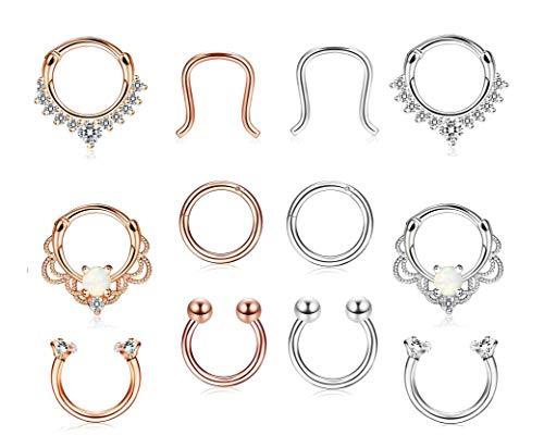 Finrezio 12 Stück 16G 316L Edelstahl Ring Piercing Nasenringe Piercing Schmuck RoseGoldton & Silberton