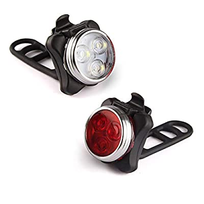 Ascher USB Rechargeable Bike Light Set,Super Bright Front Headlight and Rear LED Bicycle Light,650mah Lithium Battery,4 Light Mode Options(2 USB cables and 4 Strap Included)