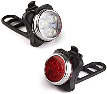 Ascher USB Rechargeable Bike Light Set (2 USB Cables and 4 Strap Included)