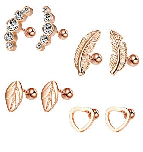 Milacolato 4 pairs Stainless Steel Earrings for Women Girls Earrings Piercing Cartilage Tragus Stud Earrings, Cubic Zirconia for Cartilage and Helix
