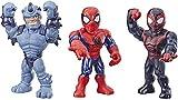 Playskool Heroes Mega Mighties Marvel Super Hero Adventures Web Warriors 3 Pack, Spider-Man, Kid Arachnid, Marvel's Rhino, 10' Figures, Kids Ages 3 & Up