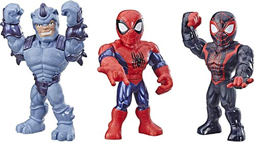 "Playskool Heroes Mega Mighties Marvel Super Hero Adventures Web Warriors 3 Pack, Spider-Man, Kid Arachnid, Marvel's Rhino, 10"" Figures, Kids Ages 3 & Up"