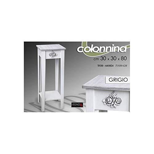 Vetrinetta Legno Shabby Chic Provenzale Grigio 48x32x120 Cm Design Moderno