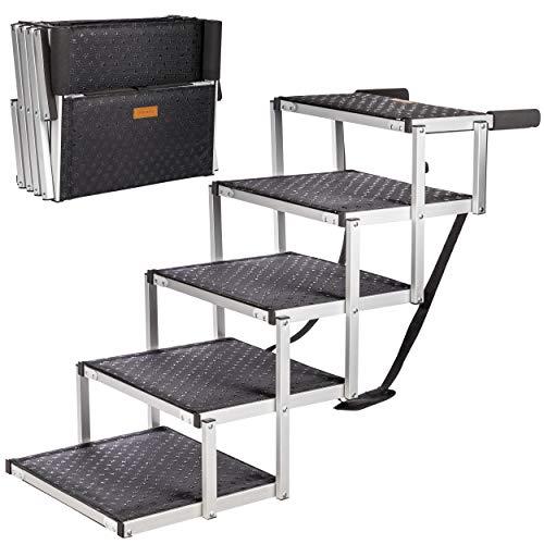 ONVAYA® Hundetreppe faltbar   5 Stufen   Hunderampe Einstieghilfe für Autos oder hohe Betten   klappbare Haustiertreppe   stabile Hundeleiter   praktisch & leicht   für bis zu 60 kg