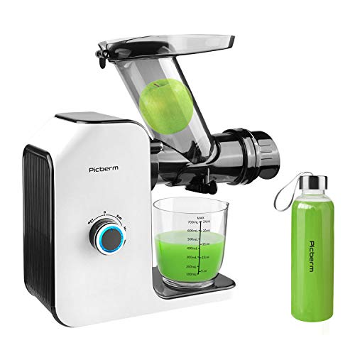 Juicer Machines with Wide Chute, Slow Masticating Juicer with Brush and Bottle, Cold Press Juicer Easy to Clean with Quiet Motor and Reverse Function, Juicer Extractor, Recipes for Fruits and Vegetables