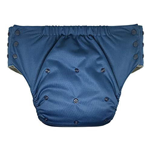 Pull On Cloth Diaper with Tabs - Special Needs Protective Incontinence Briefs for Big Kids, Teens and Adults (Youth, Navy Blue)
