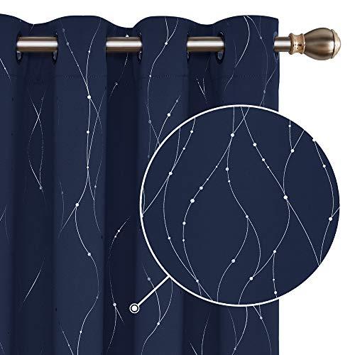 Deconovo Lot de 2 Rideaux Occultants Blue Marine pour Enfant Garçon en Chambre Salon Balcon Isolant Thermique à Oeillets 140x180cm Les Point-Lignes Imprimés Argents