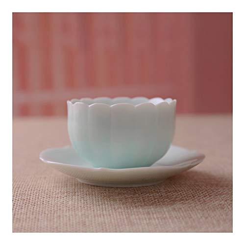 Xiang Ye Películas de cerámica Mano vidriado Verde Tallada con portavasos Girasol Kung Fu Juegos de la Taza de té (Color : B, Size : 51-100ML)