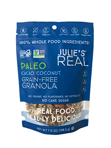 Julie's Real Gluten Free Granola, Certified Non-GMO, Grain Free, Whole Food, Paleo, Peanut Free, Crunchy and Chewy Natural Protein Granola with Cacao and Coconut, Made In USA, 3 Pack 7 Oz Each