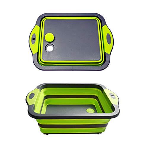 HAOXIANG Junta de Corte Multifuncional Plegable, Cocina Filtro de Agua telescópica Cesta de plástico Plegable Portable del Lavabo del Fregadero de Cocina (Verde)
