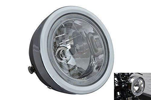 Noir Moto Phare avec LED Halo Bague 6.5 inch Diamètre 12V 35W
