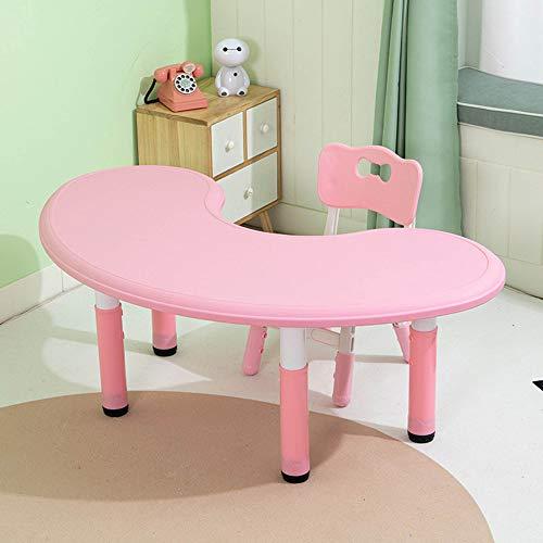 Juego de mesa y silla para niños, ajustable en altura, mesa y silla de estudio para niños en casa, mesa de juego de graffiti de plástico ecológico, para niños de 3 a 10 años, duradera/rosado /